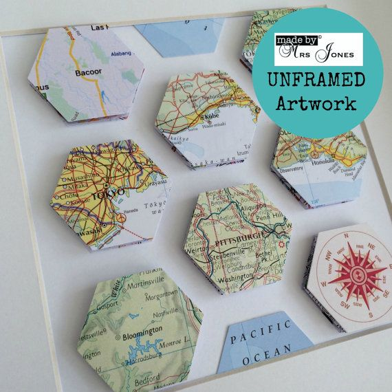 Map art - 8 special places - map hexagons - travel lover gift - beehive - wedding gift - unframed art