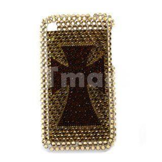 Cross Pattern Diamond Rhinestone Hard Plastic Case for iPhone 3G Gold