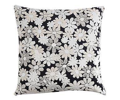 Cuscino arredo in cotone e viscosa Odomez nero/bianco, 60x60 cm