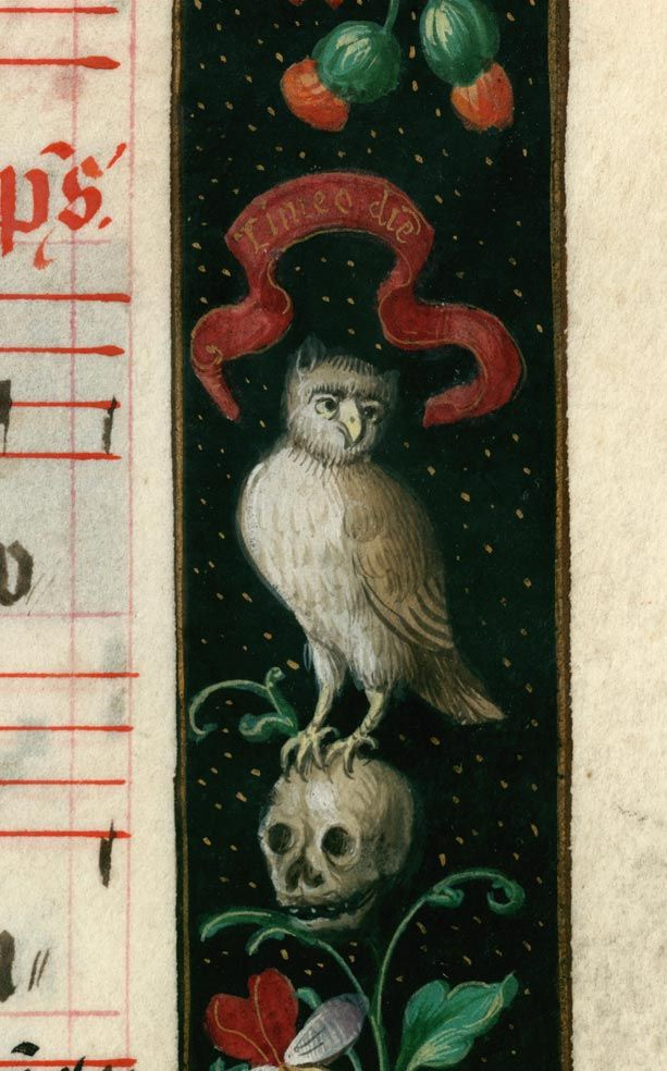Douai, Bibliothèque municipale, 0118, detail of f. 281 (marginal illustration for Office of the Dead). Early 16th century.