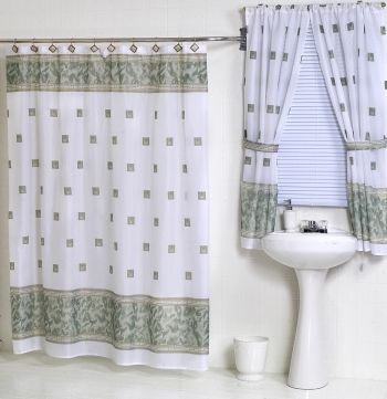 Windsor Jade Green Fabric Shower Curtain W Available Matching