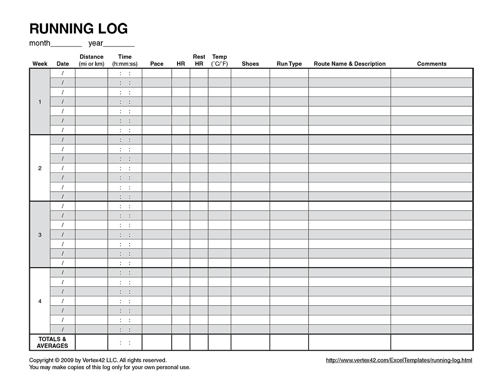 Free Printable Running Log From Vertex42