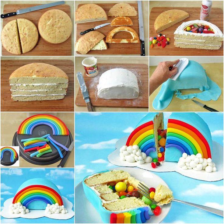 Photo of Wie man mit Süßigkeiten gefüllten Regenbogen-Überraschungskuchen bastelt   -…