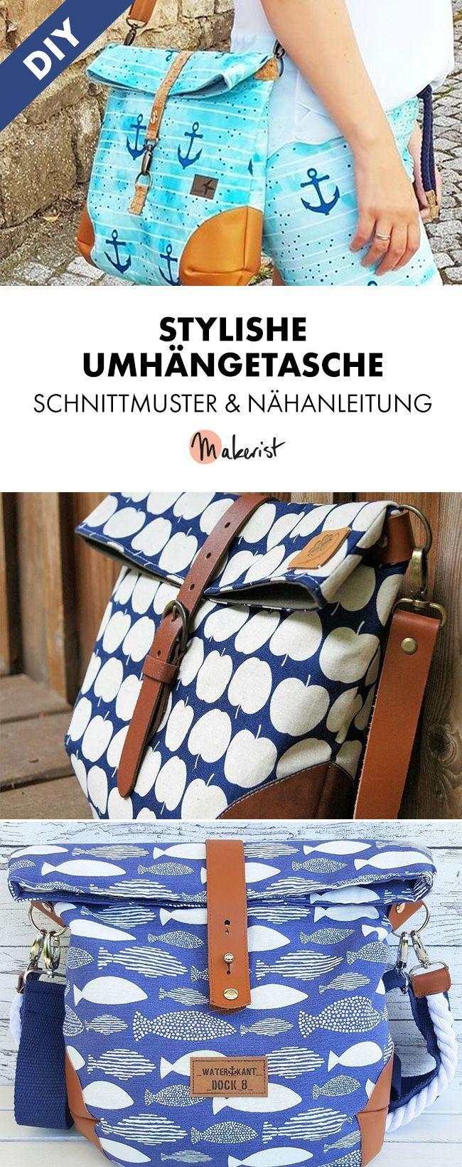 Umhängetasche für alle Gelegenheiten - Nähanleitung und Schnittmuster via Makerist.de #bagpatterns