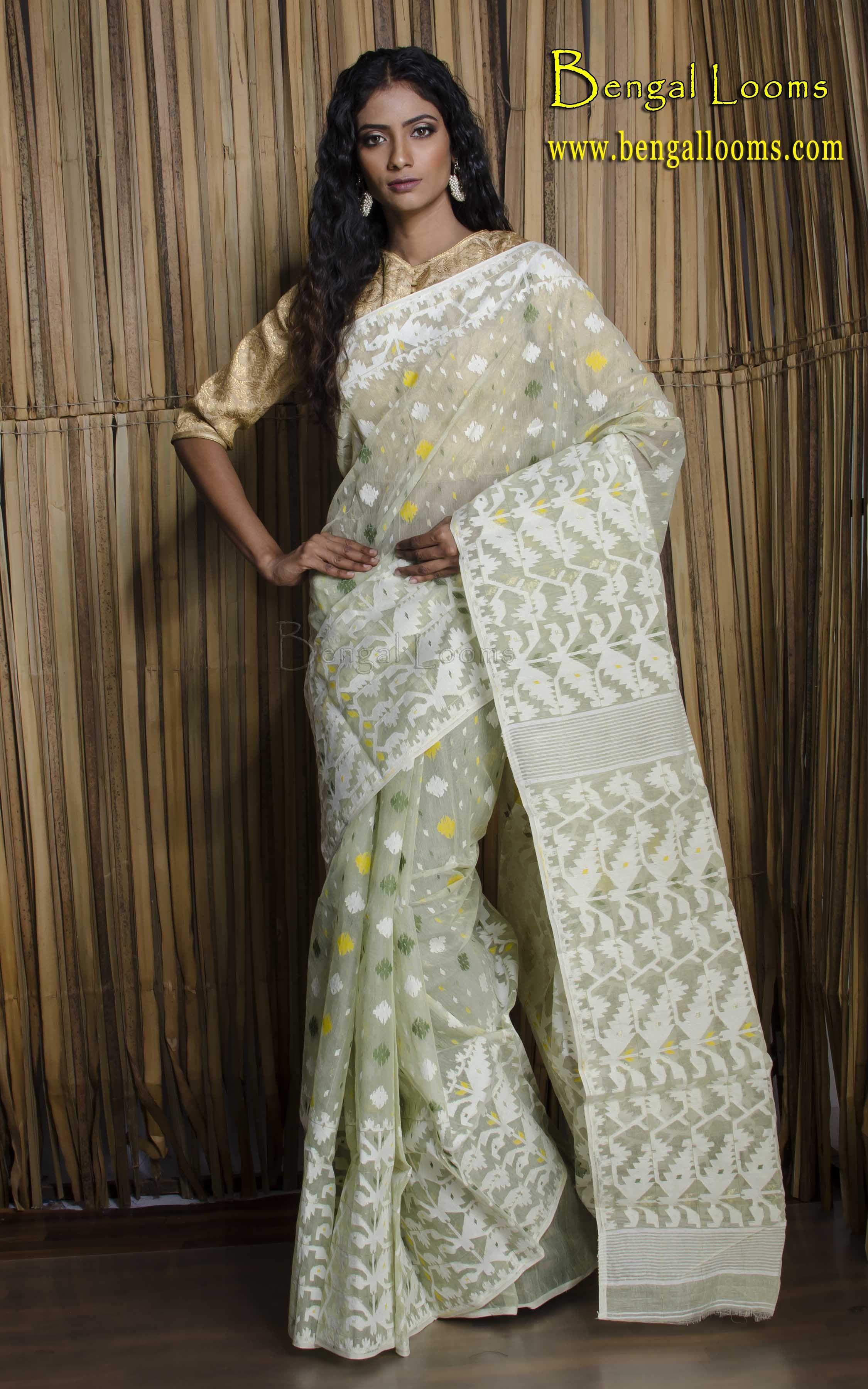 07264ae9ba Pure Handwoven Cotton Jamdani Saree in Soft Green and White ...