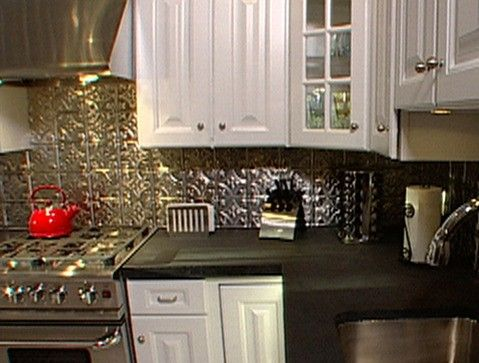White Kitchen With Tin Backsplash  Kitchen Ideas And Diy Extraordinary Tin Backsplash For Kitchen Design Decoration
