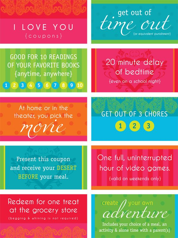 Love Coupons For Kids Free Printable From Kids Pinterest