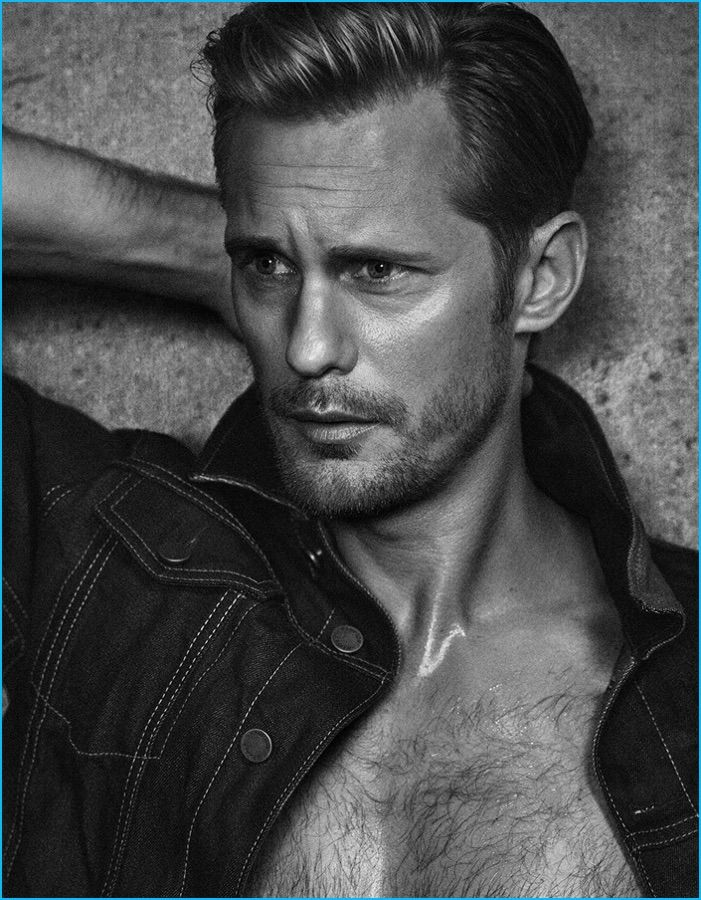 Sporting a denim jacket, Alexander Skarsgård graces the pages of Vanity Fair Italia.