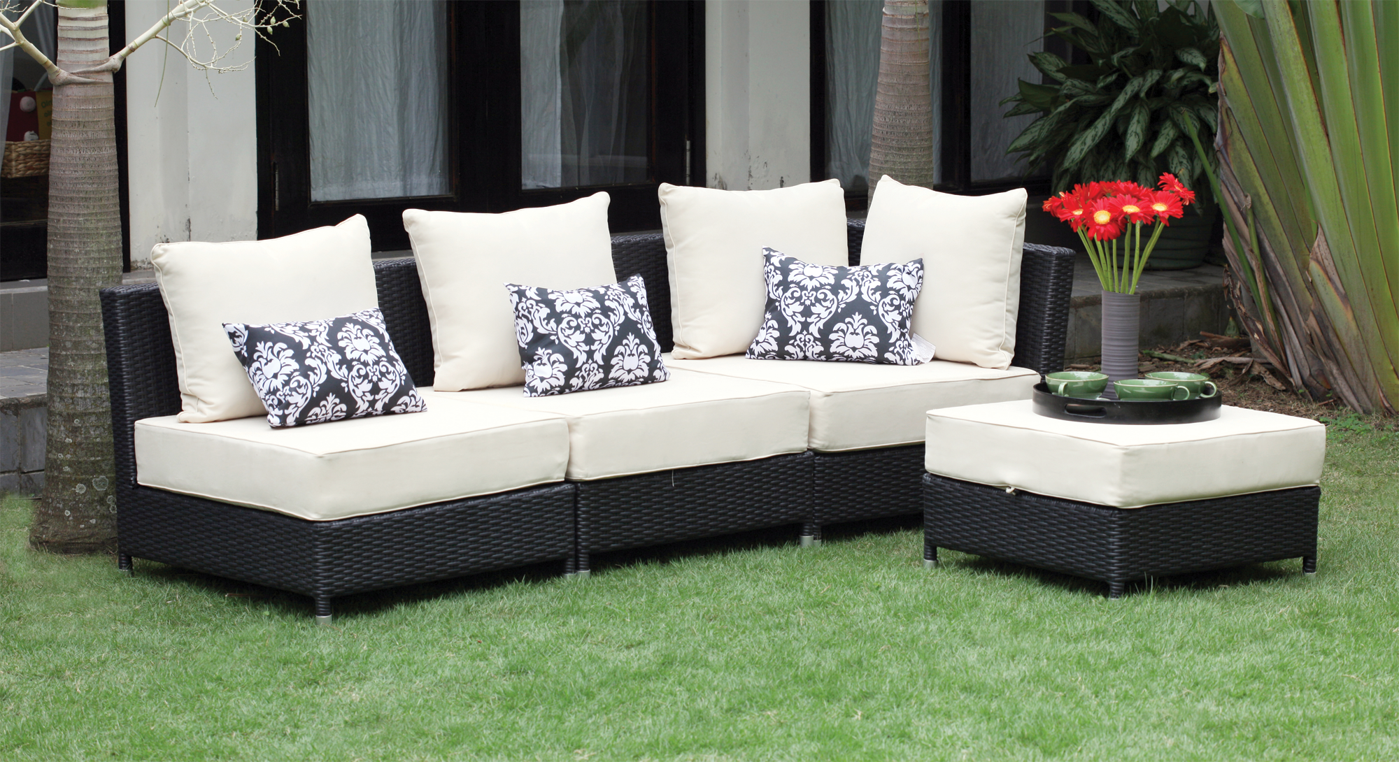 bondi polyrattan sofa set black jysk canada outdoor lounge home decor furniture