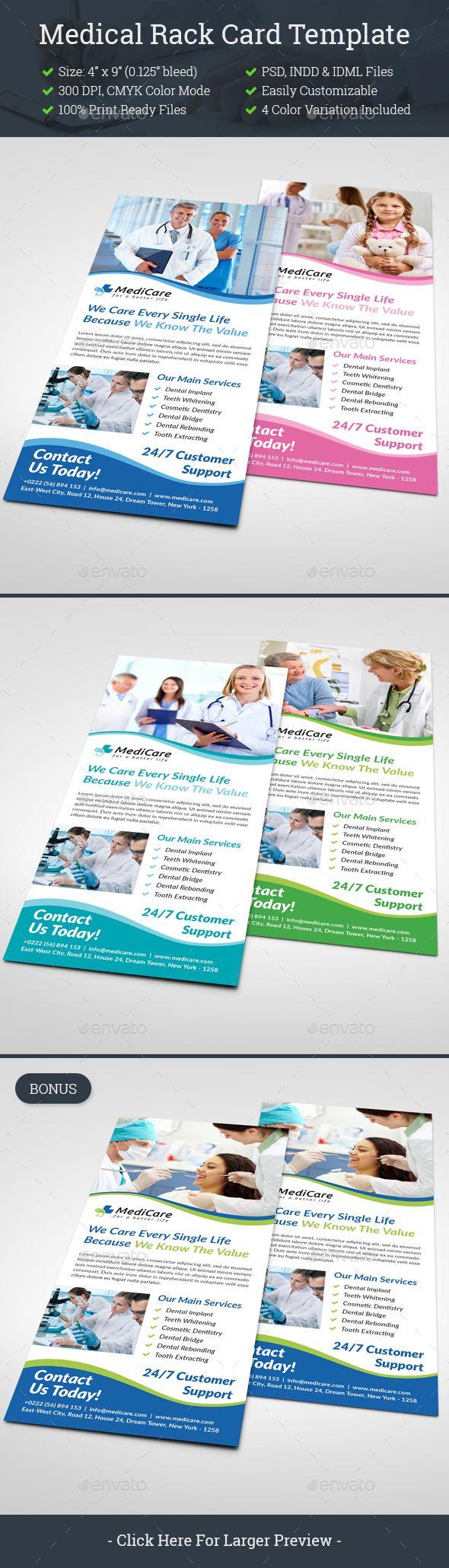 Medical Rack Card Template Psd Indesign Indd Rack Card Templates Healthcare Advertising Rack Card