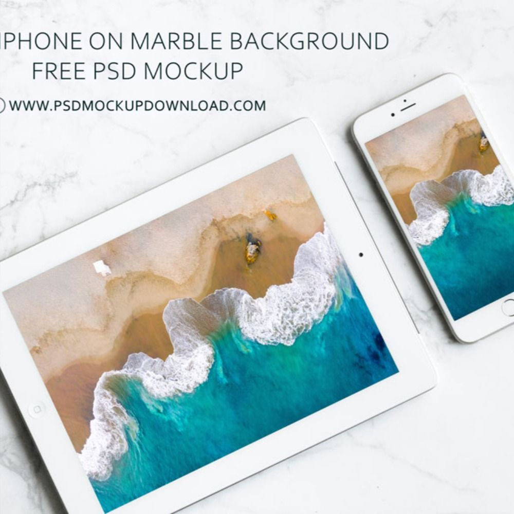 Download Apple Iphone And Ipad On Marble Background Free Mockup Apple Iphone Mockup Free Psd Free Mockup