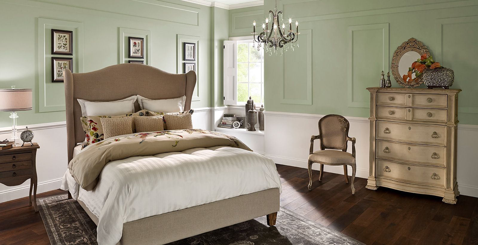 Zen Bedroom inspiration from BEHR. Paint colors used are