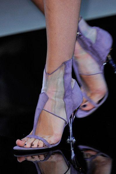 Giorgio Armani At Milan Fashion Week Spring 2014 Heels Purple Sandals Fabulous Shoes