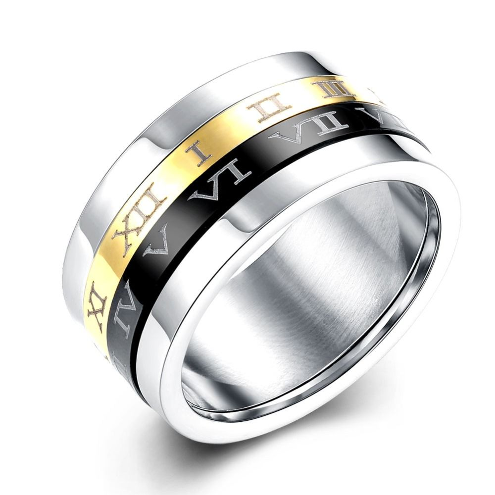 Black Stainless Steel Ring Band Titanium Silver Black Gold Men Size 7 to 12 Personality Finger Ring Fashion Wedding Party Jewelry