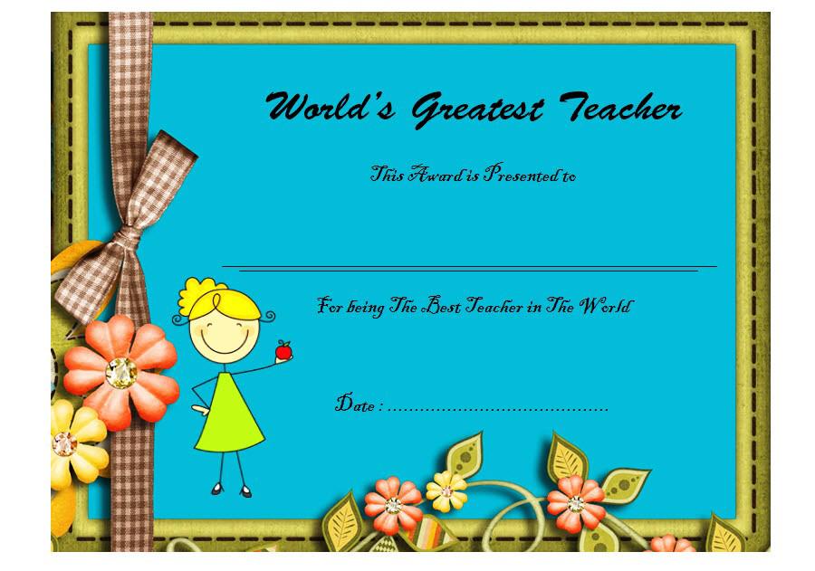 Worlds Best Teacher Certificate Free Printable 3 Teacher Certification Certificate Templates Classroom Certificates