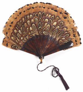 Folding Feather Fan, 1900-1930.
