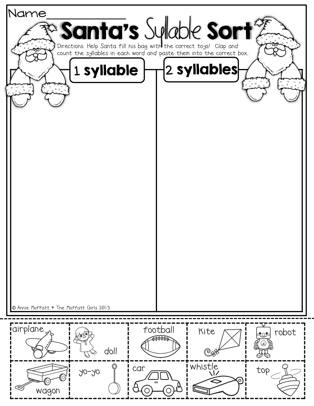 Santa S Syllable Sort Life In Kindergarten Holiday