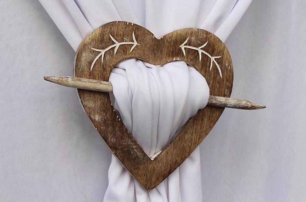 New Decorative Heart Shaped Wooden Curtain Tie Backs Drapery