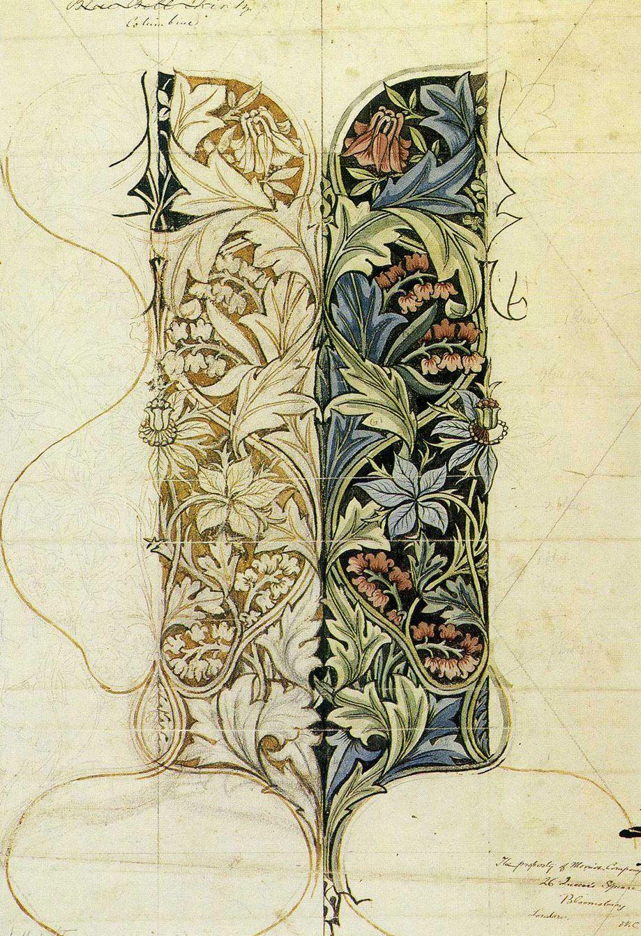 William morris floral design sketch ornamenty - Disenos textiles del mediterraneo ...