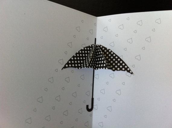 Polka Dot Umbrella Pop Up Card For Any Occassion Etsy Polka Dot Umbrella Pop Up Greeting Cards Patterned Paper
