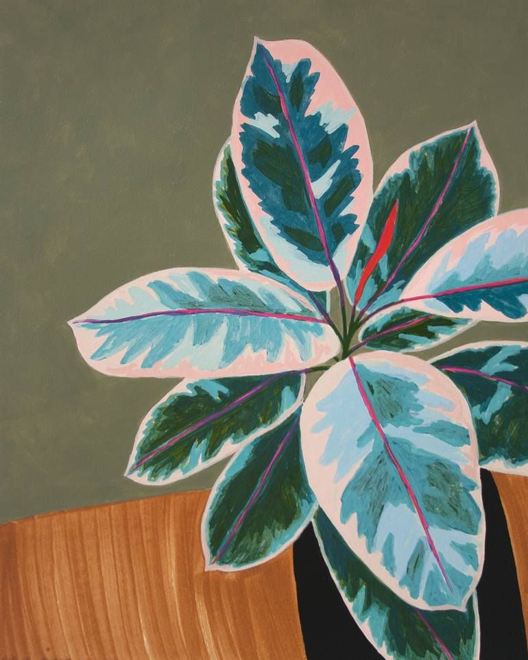 Ruby Rubber Plant Still Life Painting
