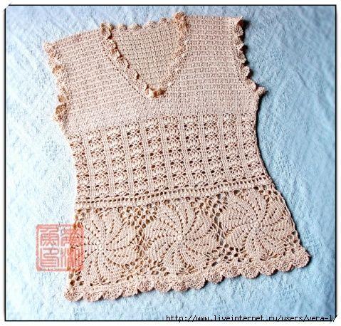 da9f5cfa8 Blusa em Crochê Sem Mangas com Grafico - Katia Ribeiro Crochê Moda e  Decoração Handmade