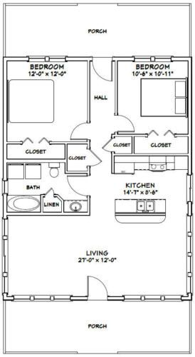 28x36 House 2 Bedroom 1 Bath 1 008 Sq Ft Pdf Floor Plan Model 2c Floor Plans How To Plan House Plans
