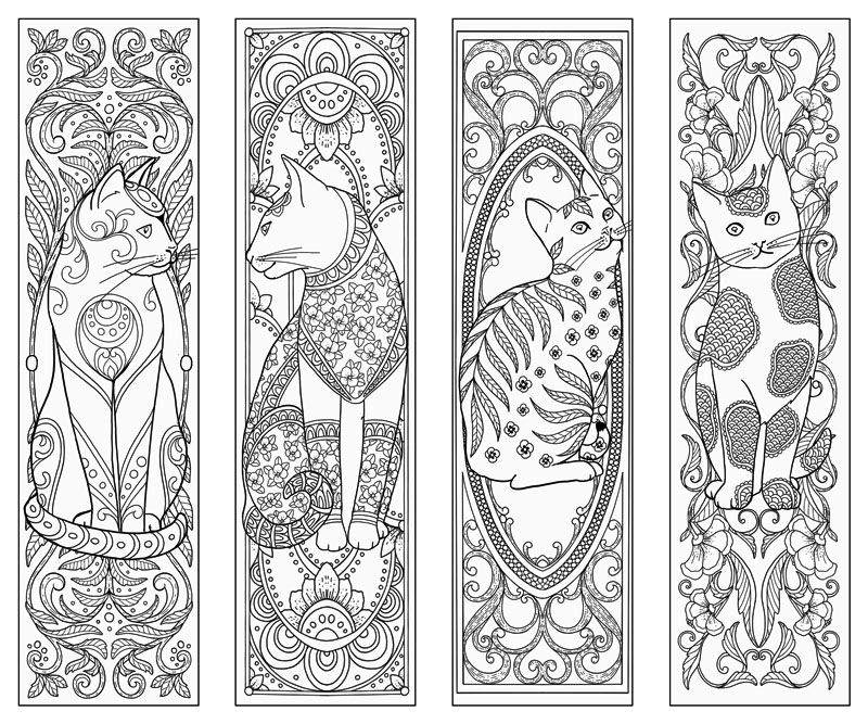 Cat bookmarks Coloring Bookmarks Cat coloring page