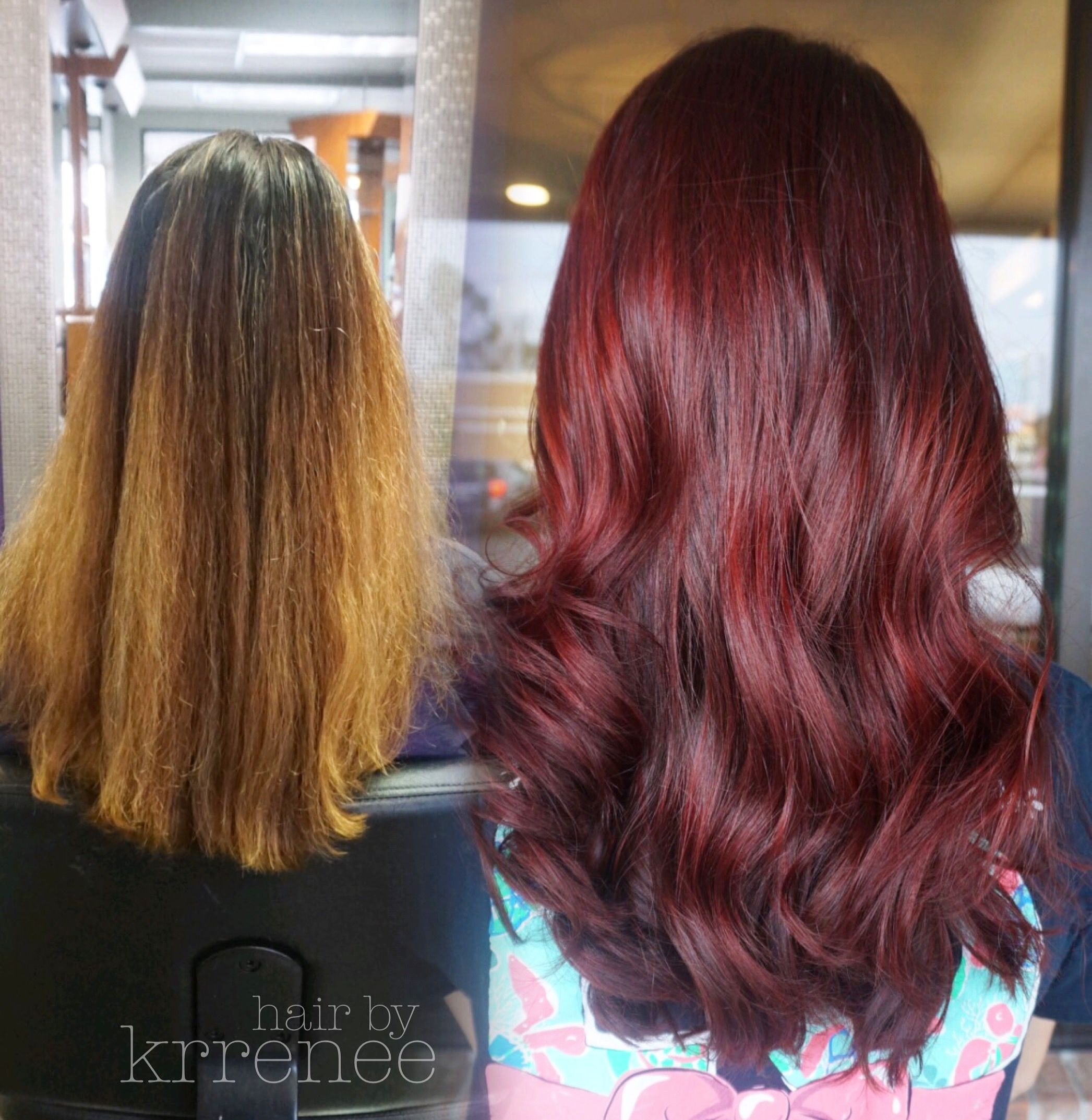 Before And After Blonde To Red Hair Transformation Deep Red Hair Hair Transformation Wine Red Hair