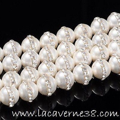 Perle nacre + strass diam 12 mm trou 1mm création bijoux collier bracelet