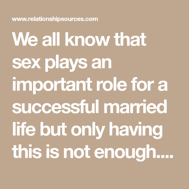 Importance of sex in married life