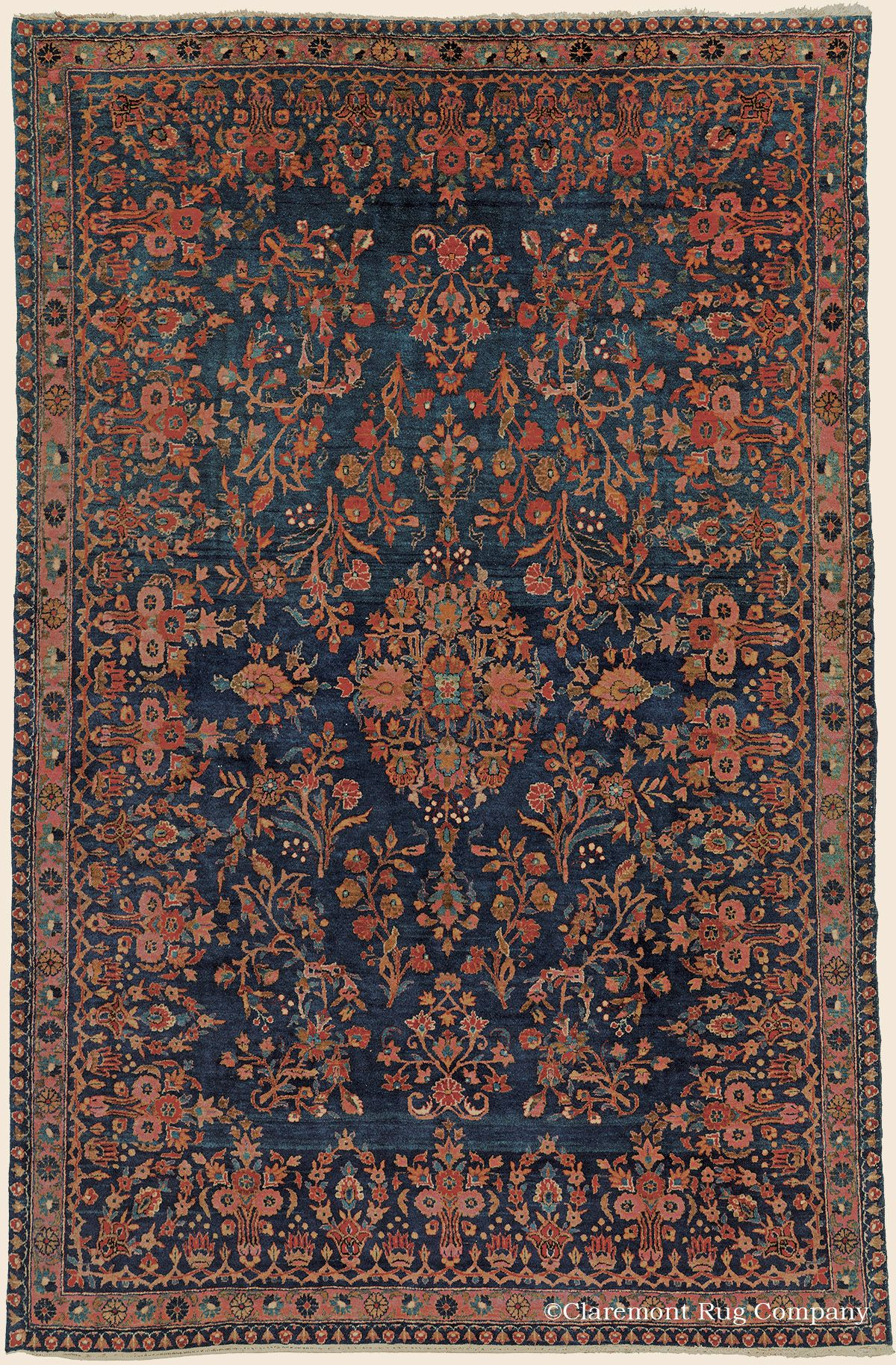 Antique Circa 1900 High Decorative Central Persian Manchester Kashan Rug 4 4 X 6 7 Price 9 800 Cl Rugs On Carpet Claremont Rug Company Antique Carpets