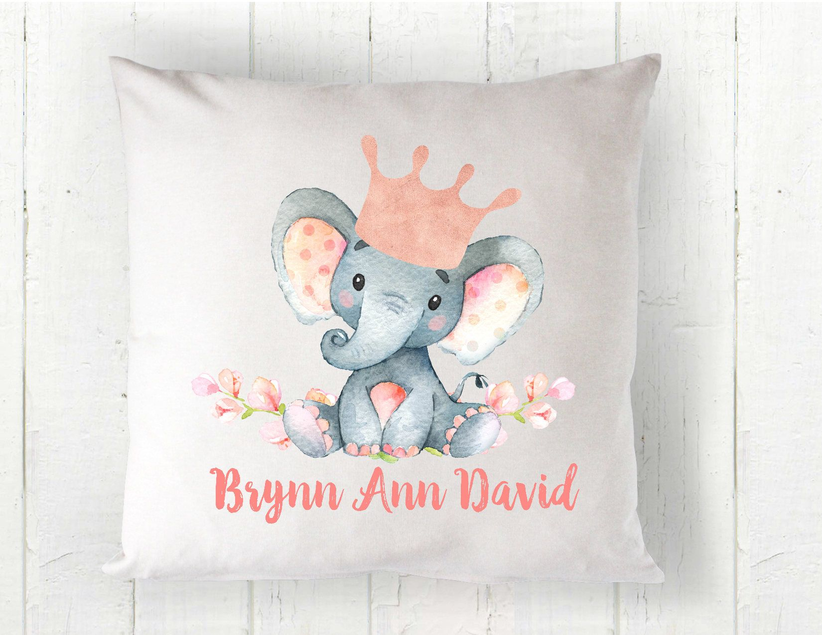 Elephant Pillow Personalized Pillow Baby Pillow Watercolor Elephant Personalized Baby Gift Baby Gift Baby Gir Baby Pillows Elephant Pillow Personalized Pillows