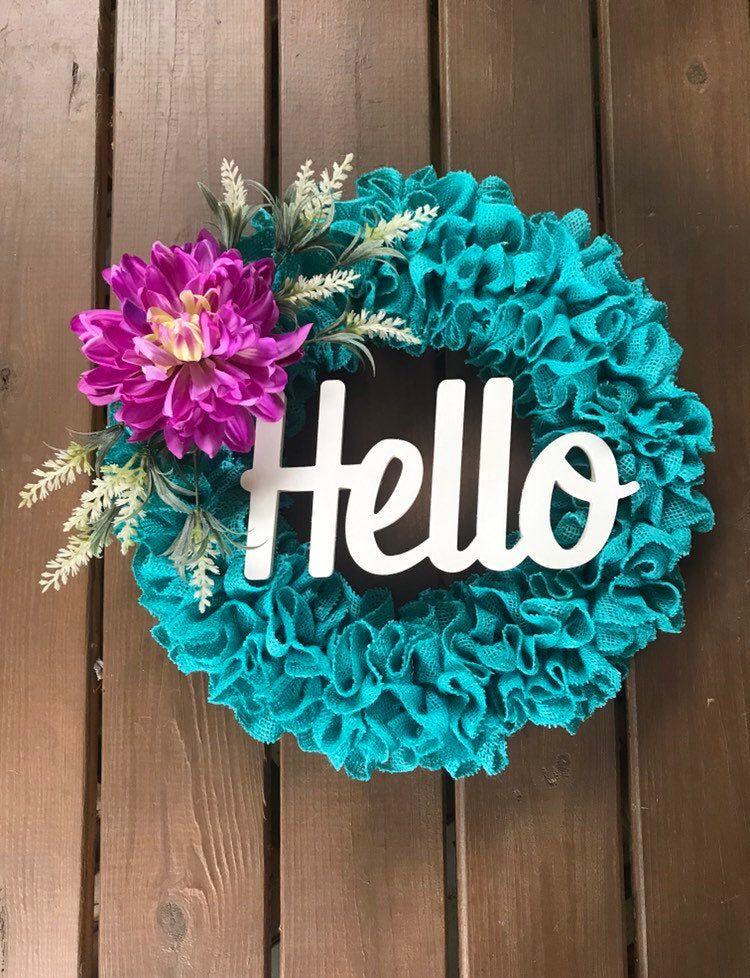 Photo of Summer Wreath – Summer Burlap Wreath – Burlap Turquoise Wreath – Front Door Wreath for Summer- Hello Wreath – Housewarming Gift