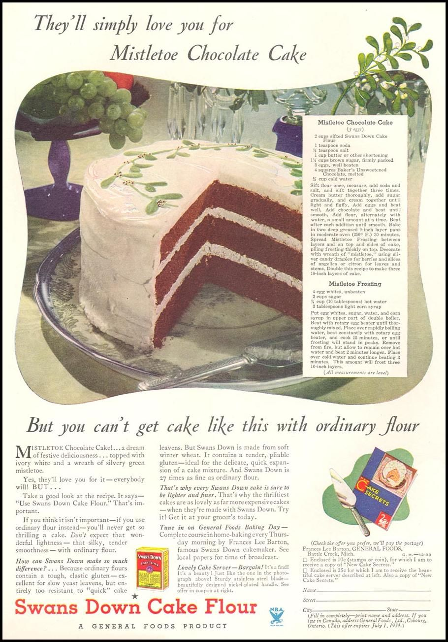 Swans Down Cake Flour 1933 advertisement Bakery Pinterest