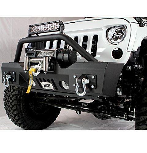 Razer Auto Jeep Wrangler JK Stubby Front Bumper With Fog Lights U0026 D Rings U0026  Winch Plate Razer Auto 07 16 Jeep Wrangler JK Black Textured Rock Crawlu2026