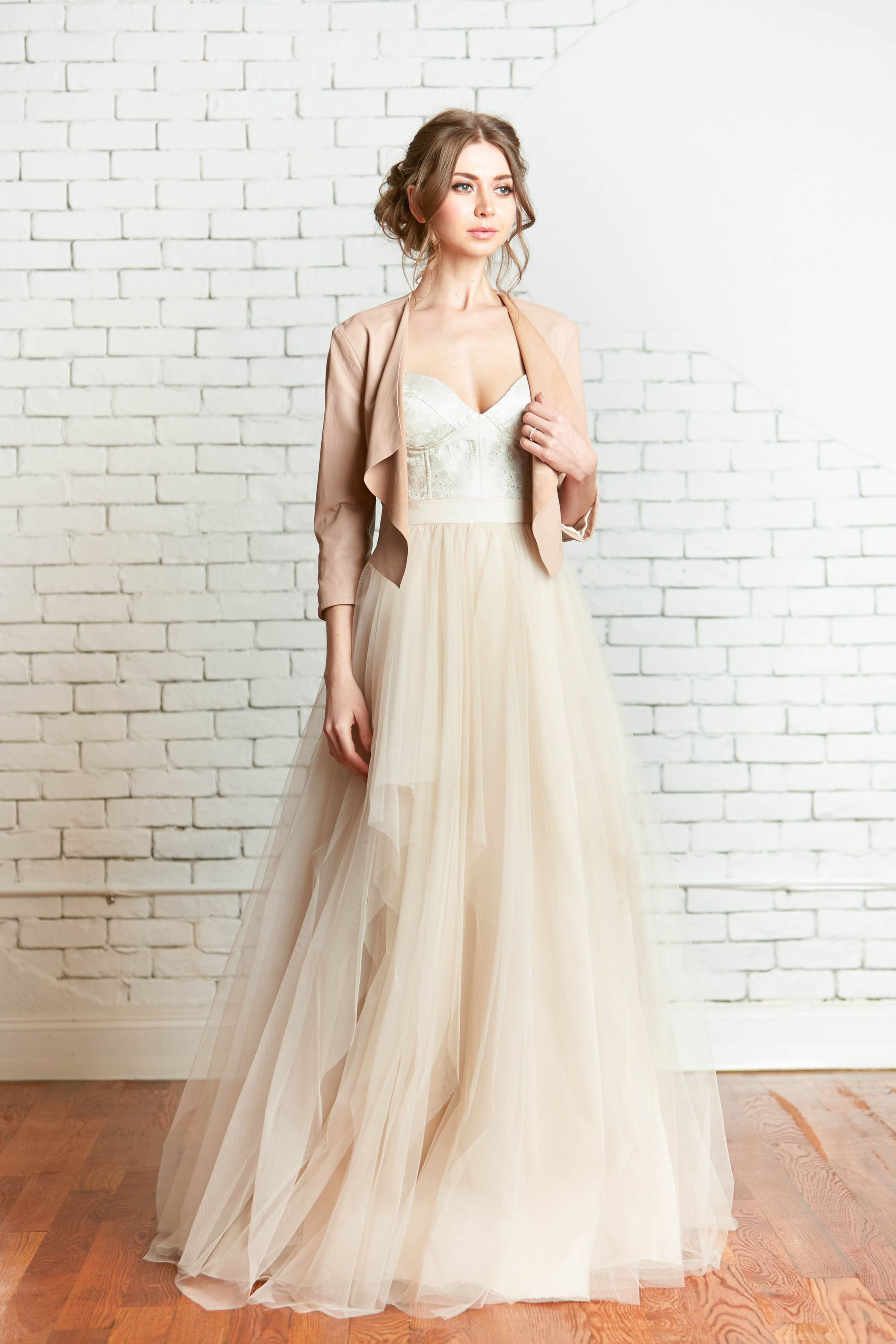 leather wedding dress Rebecca Schoneveld Bridal Gown The Verona Leather Jacket Avery McKinley Wedding Gown