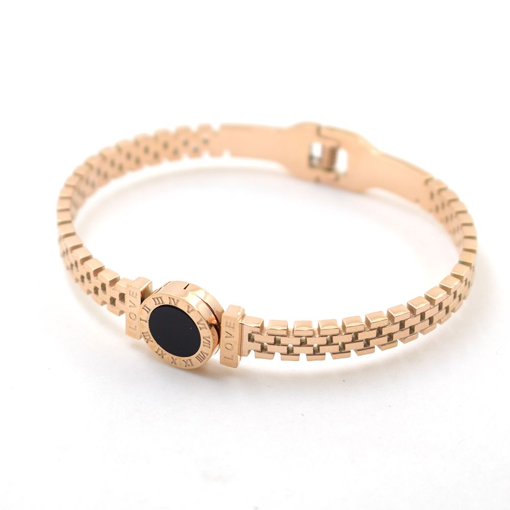Rose gold color shell love roma time brand fashion jewelry cuff