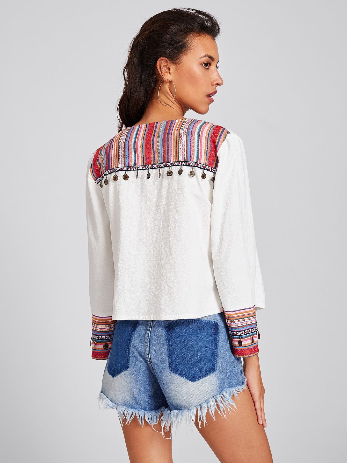 c2cd39861a Shop Coin Fringe Trim Striped Yoke And Cuff Jacket online. SheIn offers Coin  Fringe Trim Striped Yoke And Cuff Jacket & more to fit your fashionable  needs.