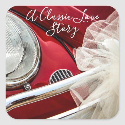 A classic car love story square sticker | Zazzle.com