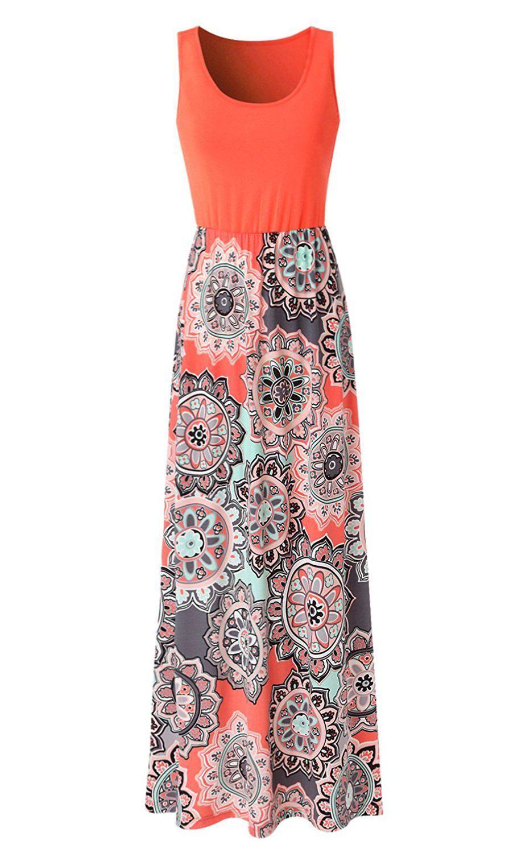 Zattcas Womens Summer Contrast Sleeveless Tank Top Floral Print Maxi Dress At Amazon Womens Clothi Simple Maxi Dress Floral Print Maxi Dress Printed Maxi Dress [ 1500 x 932 Pixel ]