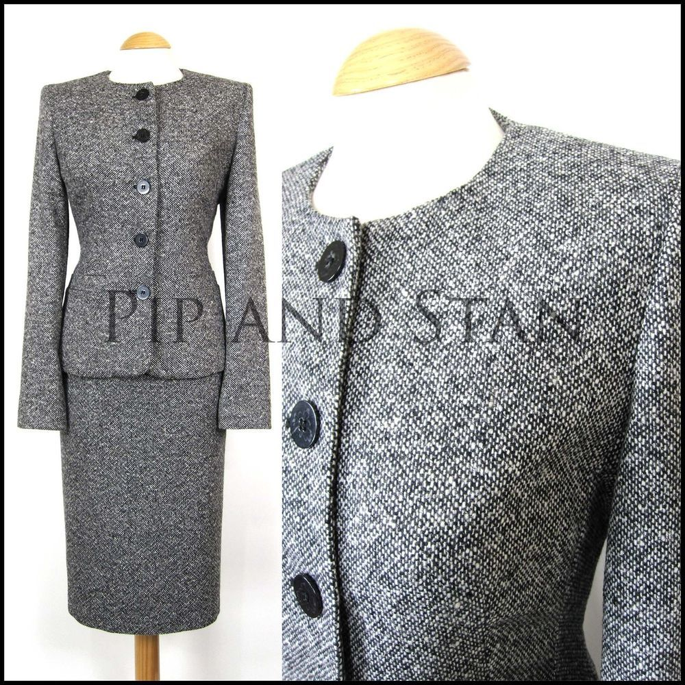Details About Uk12 Us8 50s Style Next Grey Wool Tweed