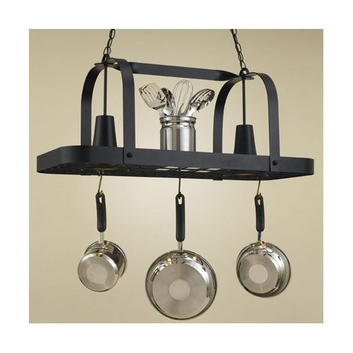 Hi-Lite Baker Collection Lighted Hanging Pot Rack  sc 1 st  Pinterest & Hi-Lite Baker Rectangular Hanging Pot Rack with 2 Lights u0026 Reviews ...