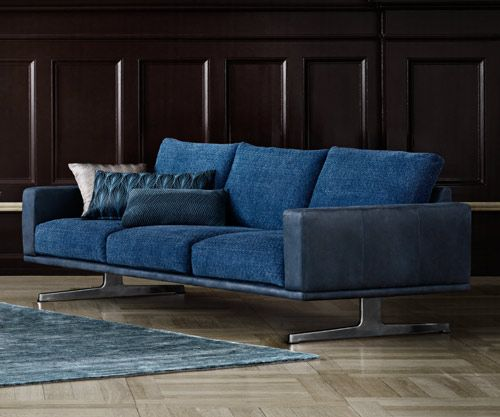 Bo Concept Carlton Sofa Shown In Two Tone Blue Fabric And Leather 7 859 Mobilier Salon Mobilier Salon