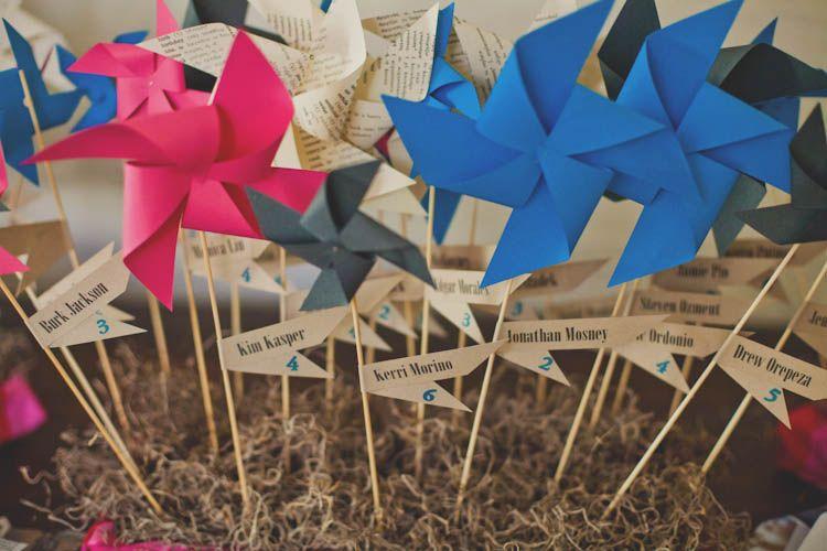 pinwheel escort cards | Wedding Reception Ideas & Decor | Pinterest ...
