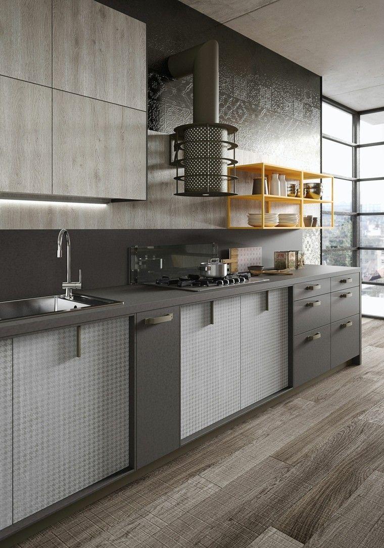 Loft y cocina con diseño de estilo industrial y rústico