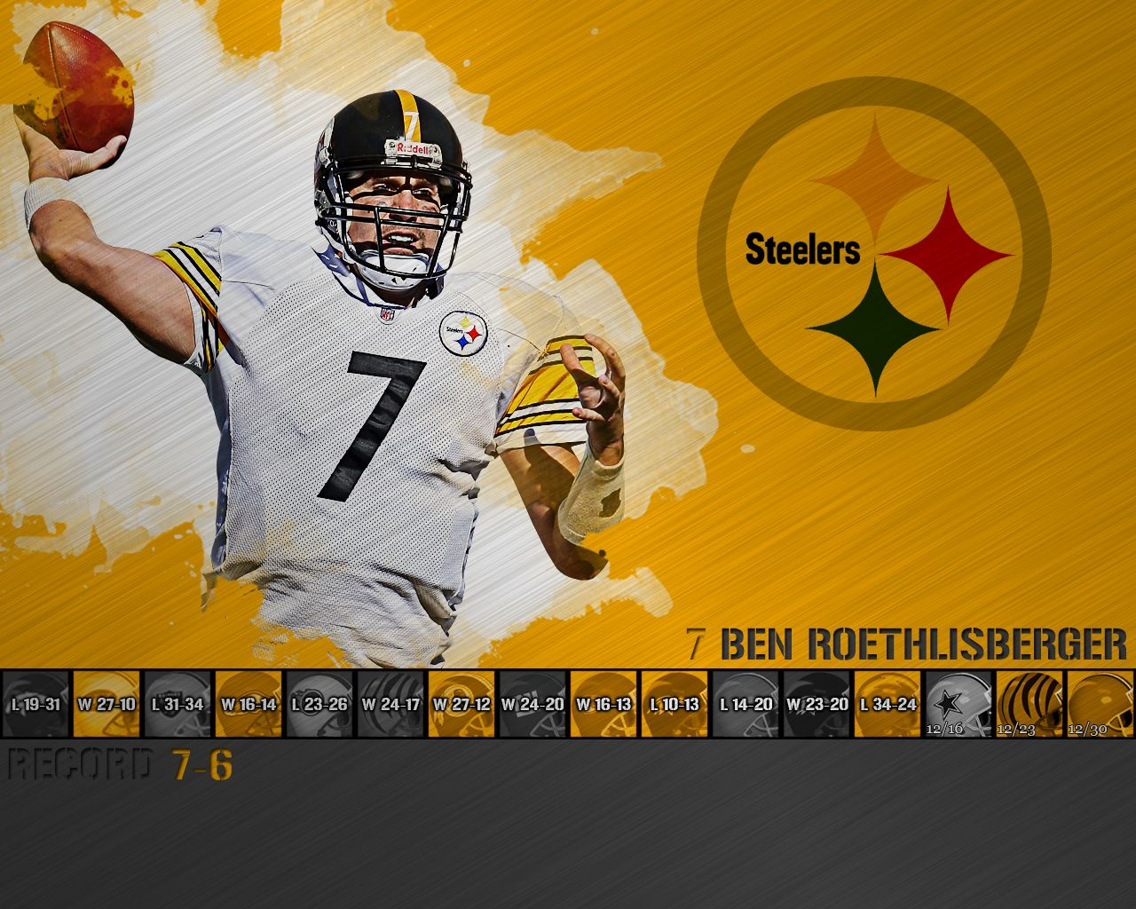 Ben Roethlisberger Wallpaper Ben Roethlisberger Pittsburgh Steelers Steelers