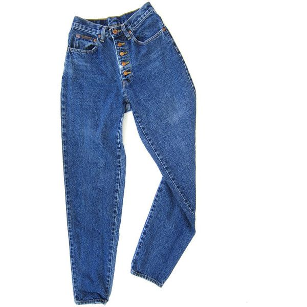 80s High Waist Blue Jeans BUTTON FLY Worn In Denim Tapered Leg... (330 DKK) ❤ liked on Polyvore featuring jeans, pants, bottoms, trousers, blue boyfriend jeans, high waisted denim jeans, vintage jeans, high rise boyfriend jeans and blue jeans