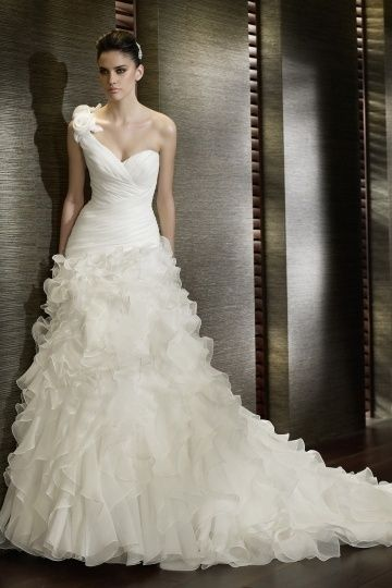 Ruffle Ruching One Shoulder Organza Mermaid Wedding Dress