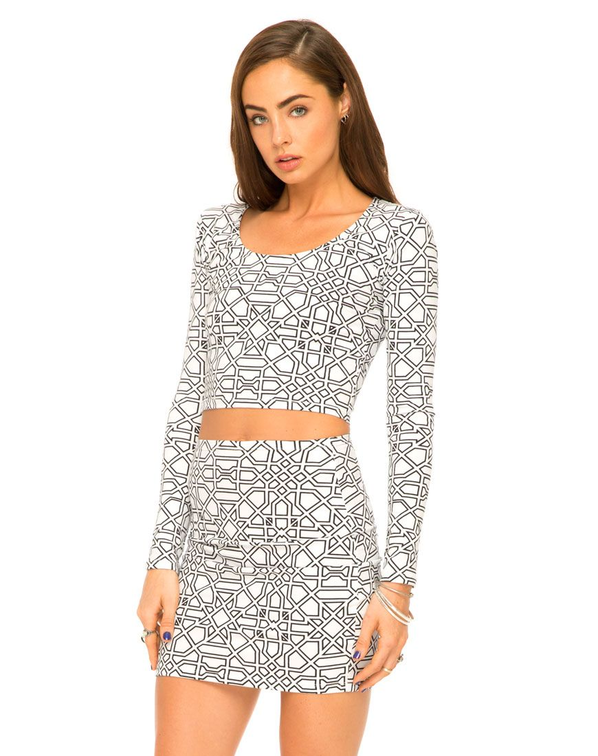 Motel Mary Long Sleeve Crop in Geo Maze at Motel Rocks ,TopShop, ASOS, House of Fraser, Nasty gal
